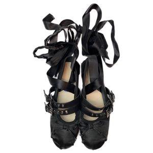 EUC Satin Ballet Flats | Ribbon Lace Up | Buckles